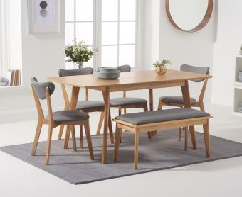 Sacha 120cm Extending Dining Table with Sacha Chairs and Benches