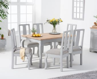 Parisian 130cm Grey Shabby Chic Table with Chairs with Grey Fabric Seats