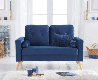 Jennifer Blue Velvet 2 Seater Sofa