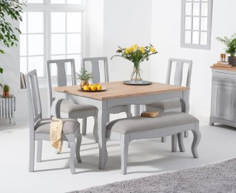Parisian 130cm Grey Shabby Chic Table with Chairs with Grey Fabric Seats and Bench