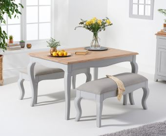 Parisian 130cm Grey Shabby Chic Table with Benches with Grey Fabric Seats
