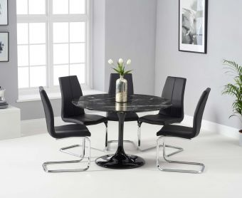 Bryce 120cm Black Round Marble Dining Table with Tarin Chairs