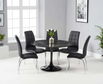 Bryce 120cm Black Round Marble Dining Table with Calgary Chairs