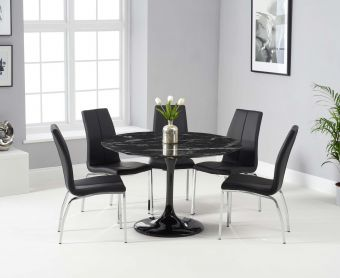 Bryce 120cm Black Round Marble Dining Table with Cavello Chairs