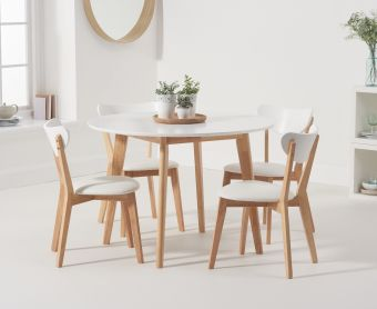 Rebekah Oak and White 110cm Round Dining Table with Rebekah Chairs