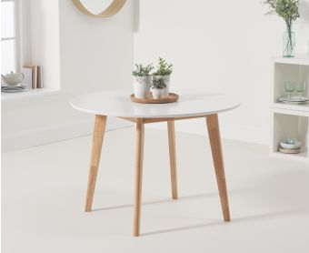 Rebekah Oak and White 110cm Round Dining Table