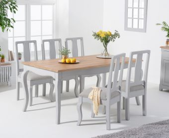 Parisian 175cm Grey Shabby Chic Table with Chairs with Grey Fabric Seats