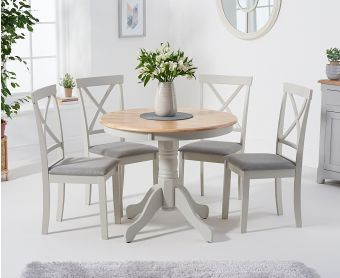 Epsom 90cm Oak and Grey Dining Table with Chairs with Fabric Seats