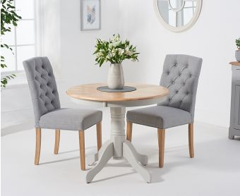 Epsom 90cm Oak and Grey Dining Table with Candice Fabric Chairs