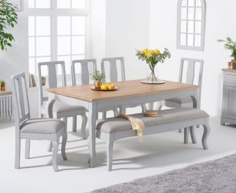 Parisian 175cm Grey Shabby Chic Table with Chairs with Grey Fabric Seats and Bench