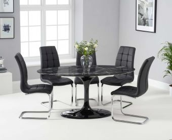 Bryce 160cm Black Oval Marble Dining Table with Lorin Chairs