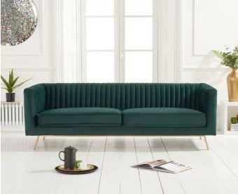 Darbie Green Velvet 3 Seater Sofa