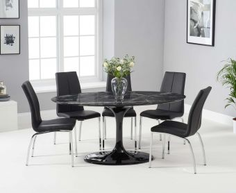 Bryce 160cm Black Oval Marble Dining Table with Cavello Chairs