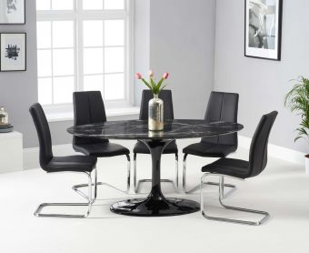 Bryce 160cm Black Oval Marble Dining Table with Tarin Chairs