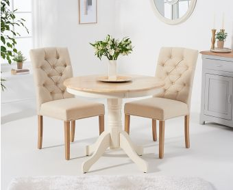 Epsom 90cm Oak and Cream Dining Table with Candice Fabric Chairs
