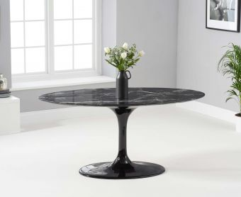Bryce 160cm Oval Black Marble Dining Table
