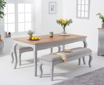 Parisian 175cm Grey Shabby Chic Table with Benches with Grey Fabric Seats
