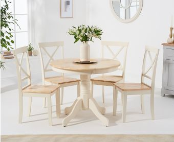 Epsom 90cm Oak and Cream Dining Table with Chairs