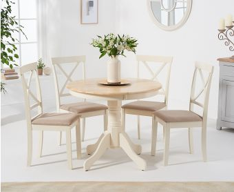 Epsom 90cm Oak and Cream Dining Table with Chairs with Fabric Seats