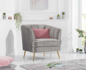 Lucern Grey Velvet Armchair