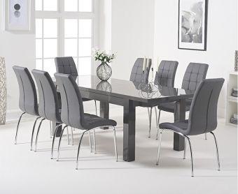 Atlanta 160cm Dark Grey High Gloss Extending Dining Table with Calgary Chairs