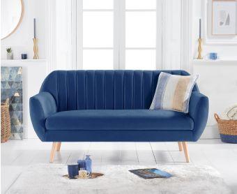 Lima Blue Velvet 3 Seater Sofa