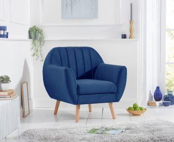 Lima Blue Velvet Armchair