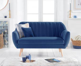 Lima Blue Velvet 2 Seater Sofa