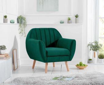Lima Green Velvet Armchair