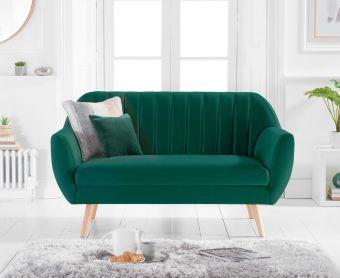 Lima Green Velvet 2 Seater Sofa