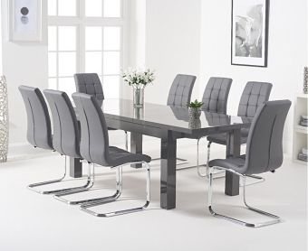 Atlanta 160cm Dark Grey High Gloss Extending Dining Table with Lorin Chairs