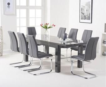 Atlanta 160cm Dark Grey High Gloss Extending Dining Table with Tarin Chairs