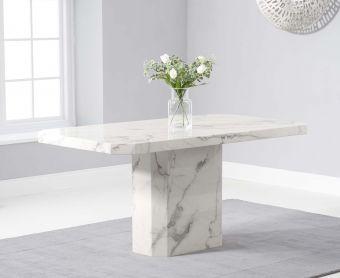 Brandi 160cm White Marble Dining Table