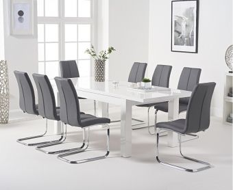 Atlanta 160cm White High Gloss Extending Dining Table with Tarin Chairs