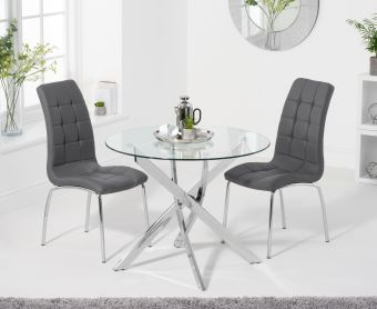 Denver 95cm Glass Dining Table with Calgary Chairs