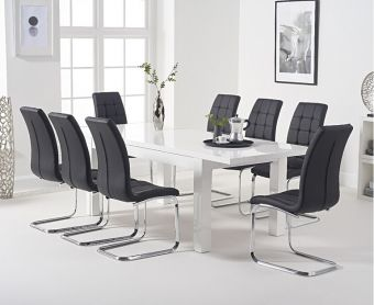 Atlanta 160cm White High Gloss Extending Dining Table with Lorin Chairs