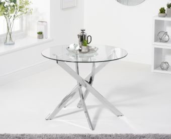 Denver 95cm Round Glass Dining Table