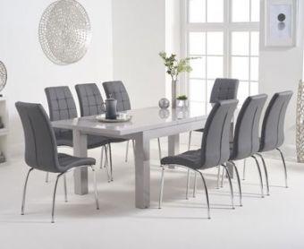 Atlanta 160cm Light Grey High Gloss Extending Dining Table with Calgary Chairs