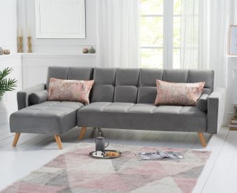 Addison Sofa Bed Left Facing Chaise in Grey Velvet