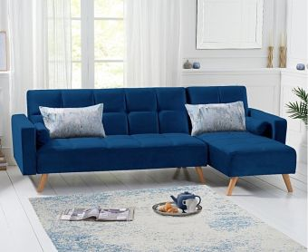 Addison Sofa Bed Right Facing Chaise in Blue Velvet