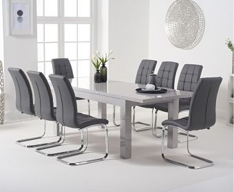 Atlanta 160cm Light Grey High Gloss Extending Dining Table with Lorin Chairs