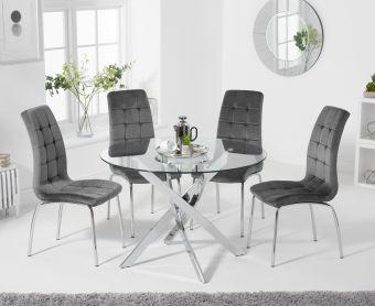 Denver 110cm Glass Dining Table with Calgary Velvet Chairs