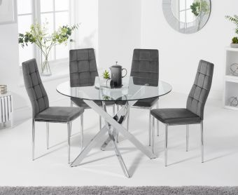 Denver 95cm Glass Dining Table with Melissa Chairs