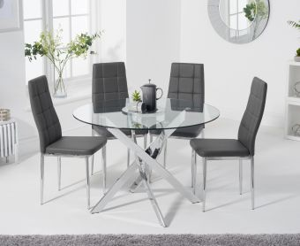 Denver 95cm Glass Dining Table with Cassa Chairs