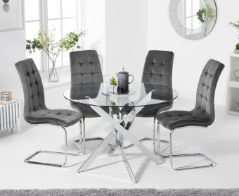 Denver 95cm Glass Dining Table with Lorin Velvet Chairs