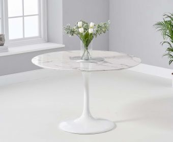 Bryce 120cm Round White Marble Dining Table