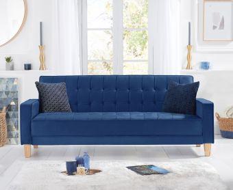 Reading Blue Velvet Sofa Bed