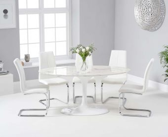 Bryce 160cm White Oval Marble Dining Table with Tarin Chairs