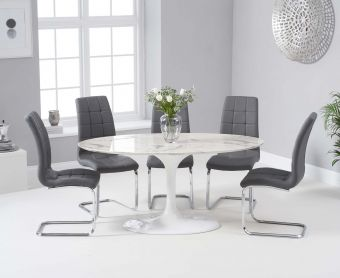 Bryce 160cm White Oval Marble Dining Table with Lorin Chairs