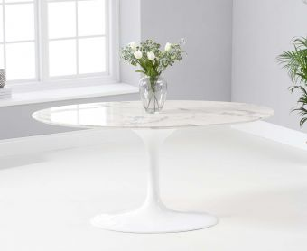 Bryce 160cm Oval White Marble Dining Table